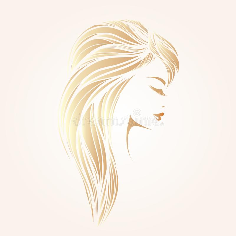 Portret van een mooie vrouw met lang, blondehaar en klassieke make-up stock illustratie