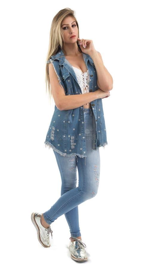 Portret van een mooie vrouw Volledige lichaamsfoto Blondepersoon wij stock afbeeldingen