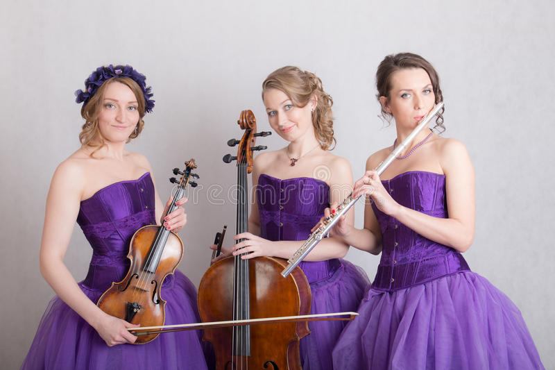 Portret van een muzikaal trio stock afbeelding