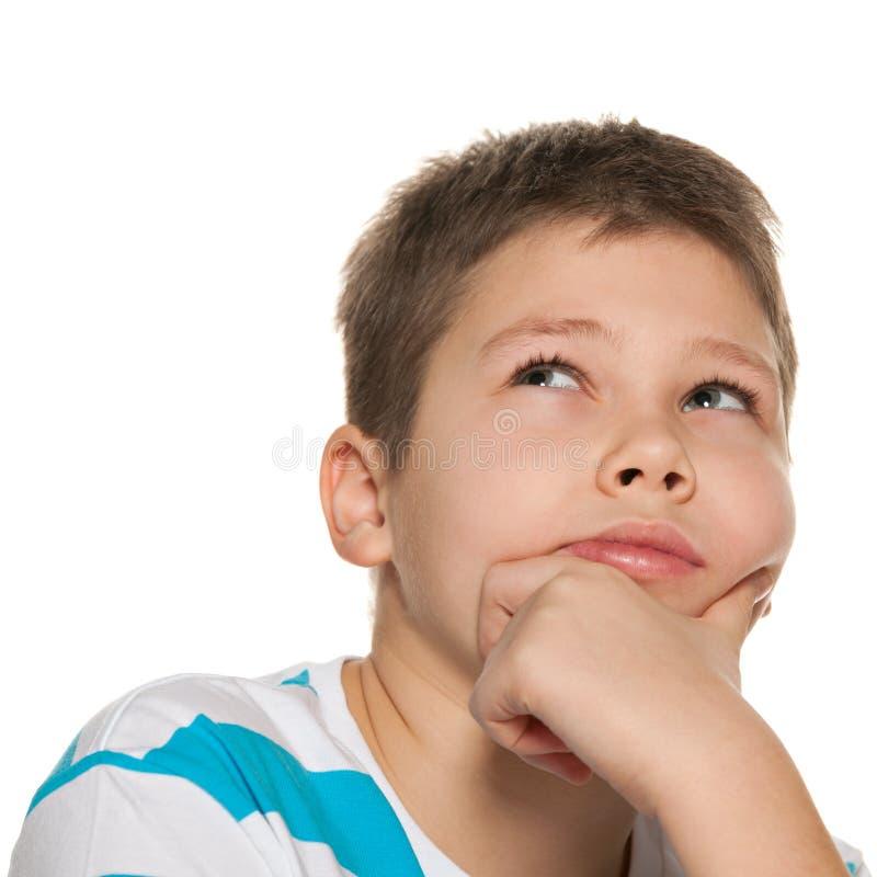 Download Portret Van Een Nadenkende Jongen Stock Afbeelding - Afbeelding bestaande uit nadenkend, kinderjaren: 29501835
