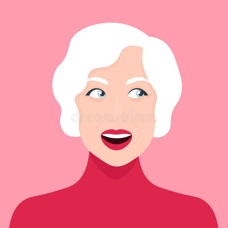 Portret van een nieuwsgierige vrouw oud verrast avatar stock illustratie