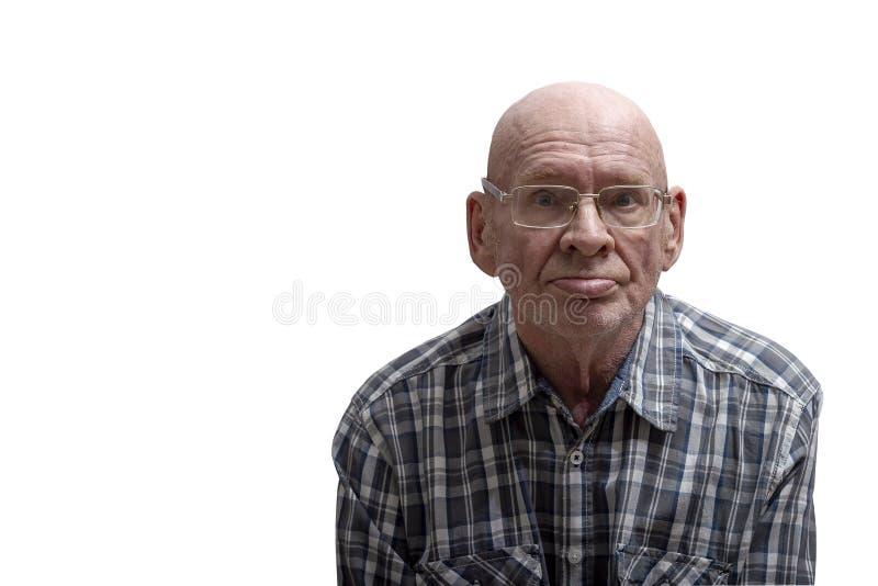 Portret van een oude mens Front View stock foto