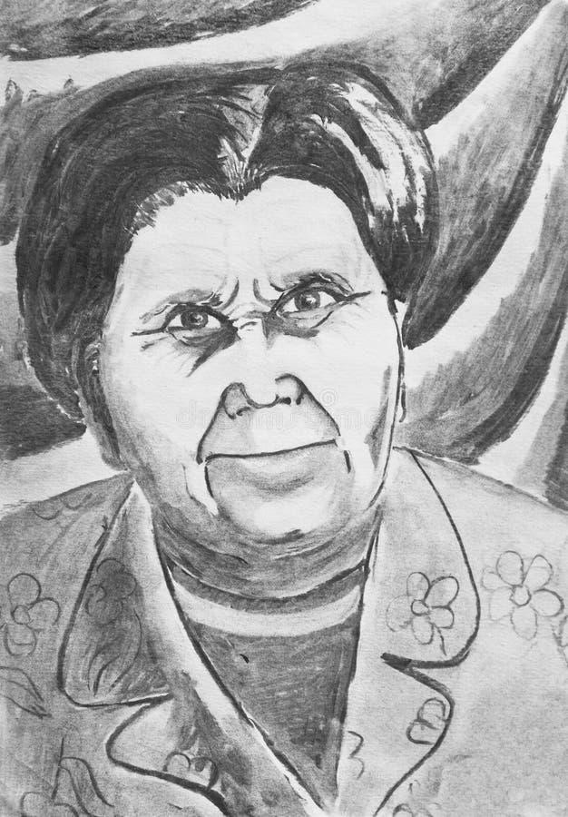 Portret van een oude vrouw stock illustratie