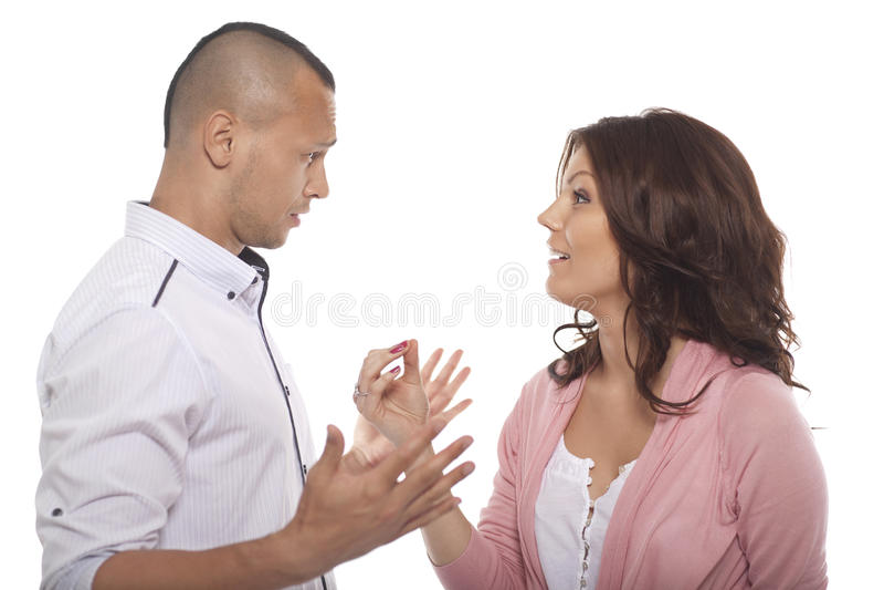 Portret van een Paar die een Gesprek hebben stock foto