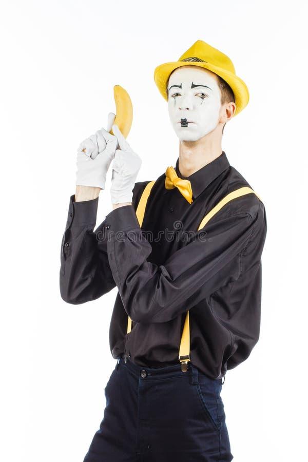 Portret van een pantomime in de vorm van een misdadiger, ganster ras stock afbeelding