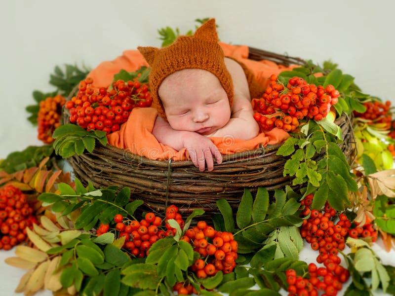 Portret van een pasgeboren jongensclose-up stock afbeelding