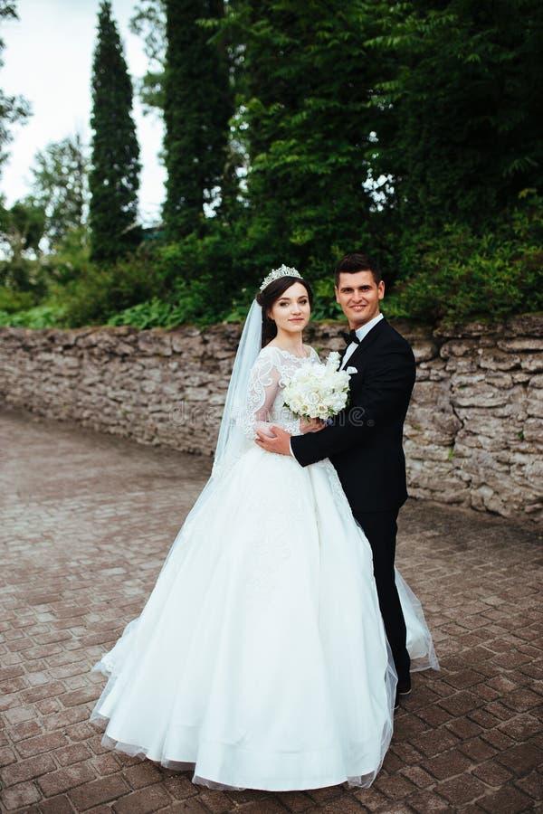 Portret van een prachtig huwelijkspaar stock afbeeldingen