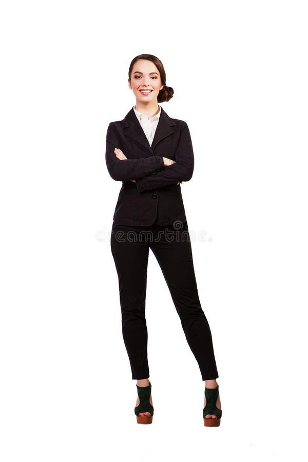 Portret van een rijpe professionele bedrijfsvrouw Geïsoleerdj op witte achtergrond stock foto's