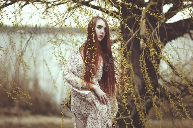 Portret van een romantisch meisje met rood haar in de wind onder een wilg royalty-vrije stock foto's