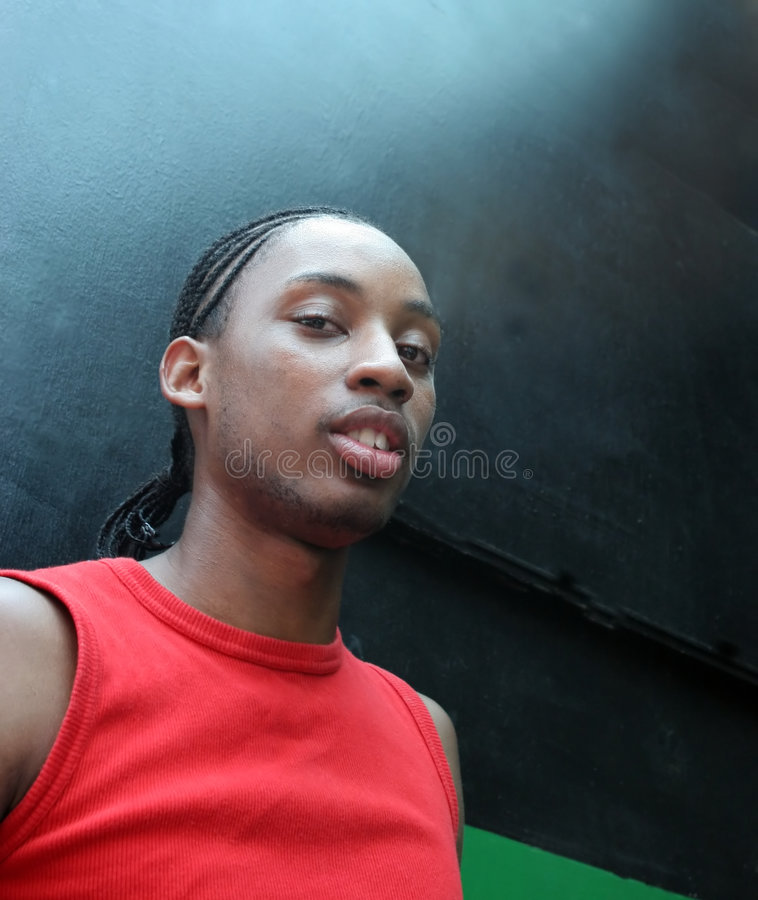 Portret van een schitterende jonge zwarte mens stock afbeelding