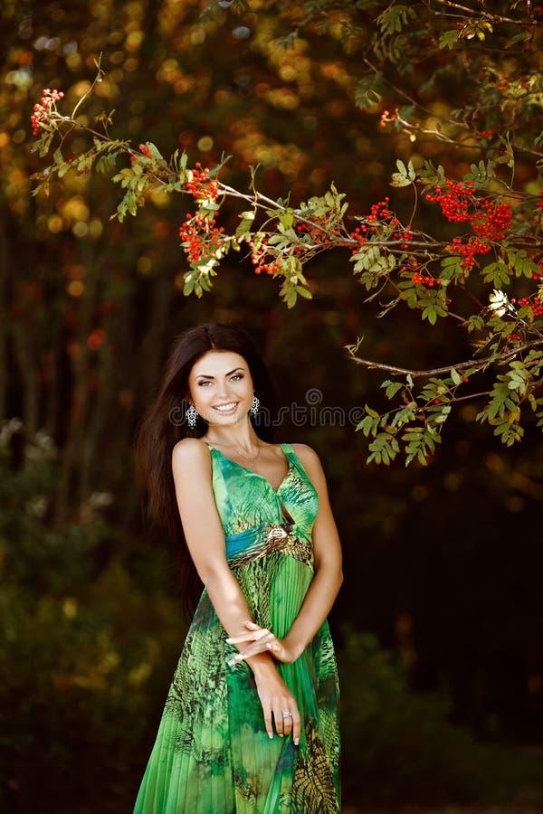 Portret van een sexy sensueel zeer mooi glimlachend donkerbruin meisje stock afbeeldingen