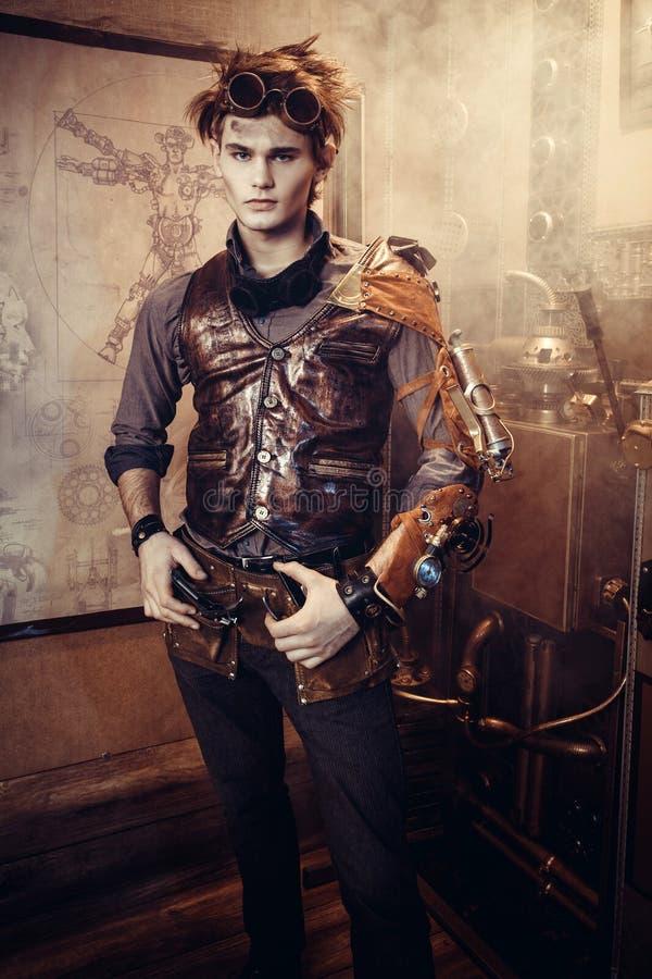Portret van een steampunkmens stock foto's