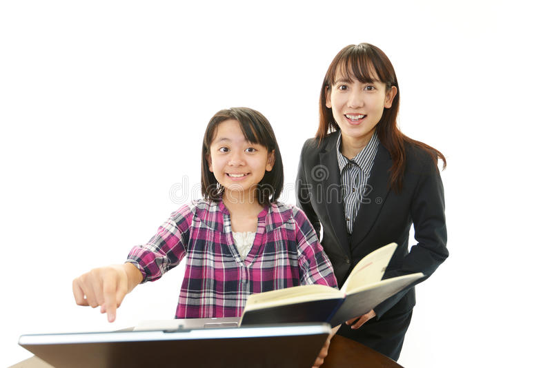 Portret van een student met een leraar stock fotografie