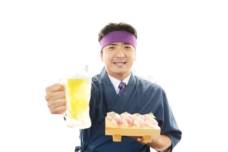 Portret van een sushichef-kok royalty-vrije stock afbeelding