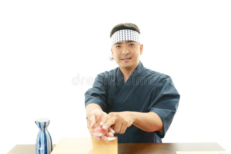Portret van een sushichef-kok royalty-vrije stock foto's