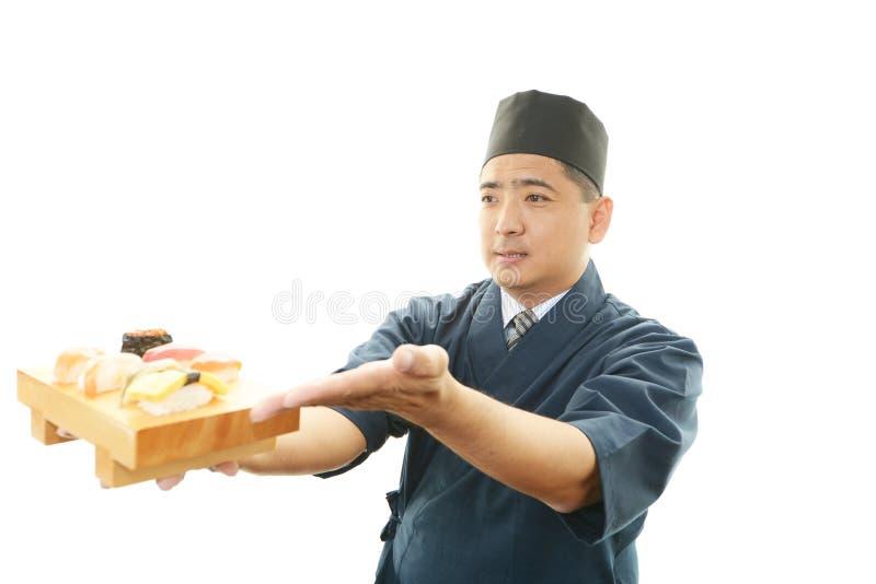 Portret van een sushichef-kok royalty-vrije stock fotografie