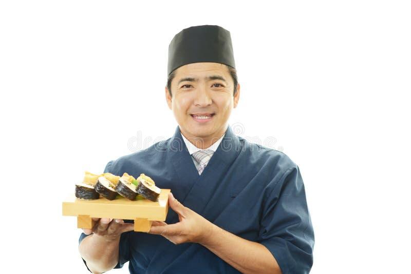 Portret van een sushichef-kok royalty-vrije stock foto