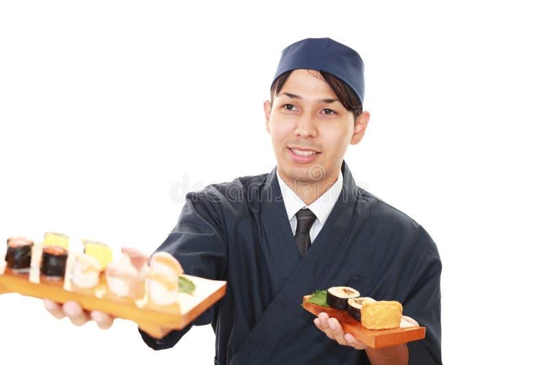 Portret van een sushichef-kok stock afbeeldingen