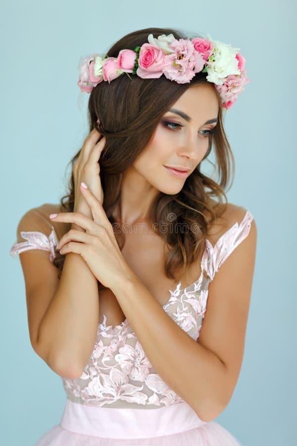 Portret van een teder mooi meisje in een roze kleding en een kroon stock fotografie