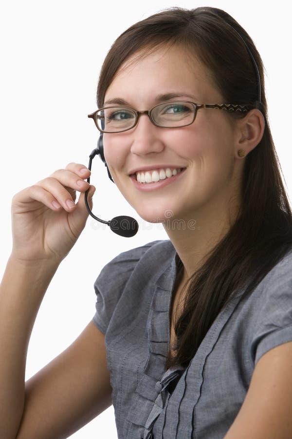 Portret van een telemarketer stock foto