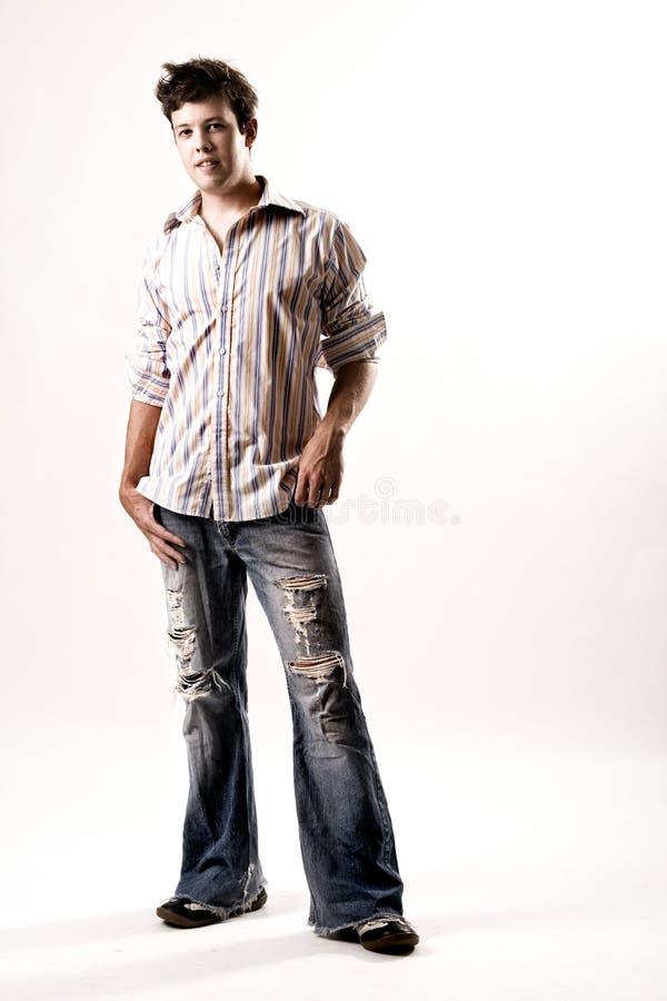 Portret van een toevallig mannetje in jeans royalty-vrije stock foto