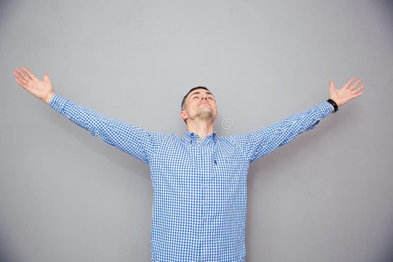 Portret van een uitdrukking van de mensen gesturing vrijheid royalty-vrije stock foto's
