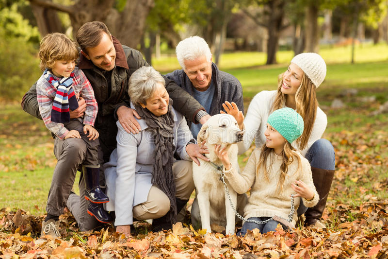 Portret van een uitgebreide familie stock afbeeldingen
