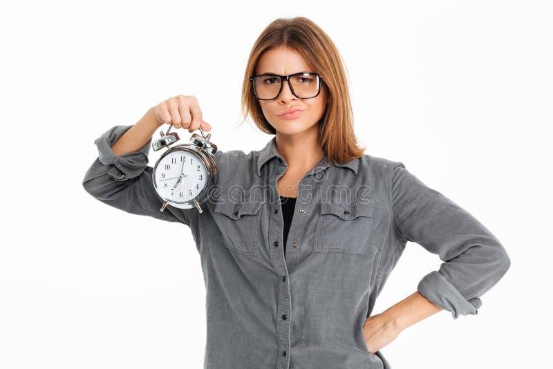 Portret van een verstoord teleurgesteld meisje in eyewear stock fotografie
