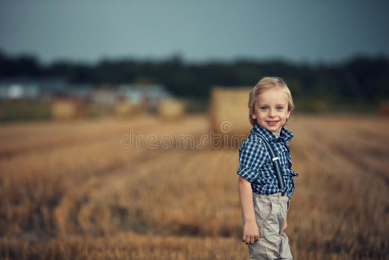 Portret van een vrolijk kind dat zich op het maïsveld poselt stock foto