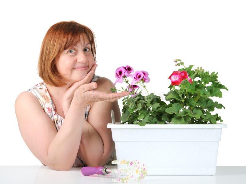 Portret van een vrouw die op middelbare leeftijd houseplant tonen stock afbeeldingen