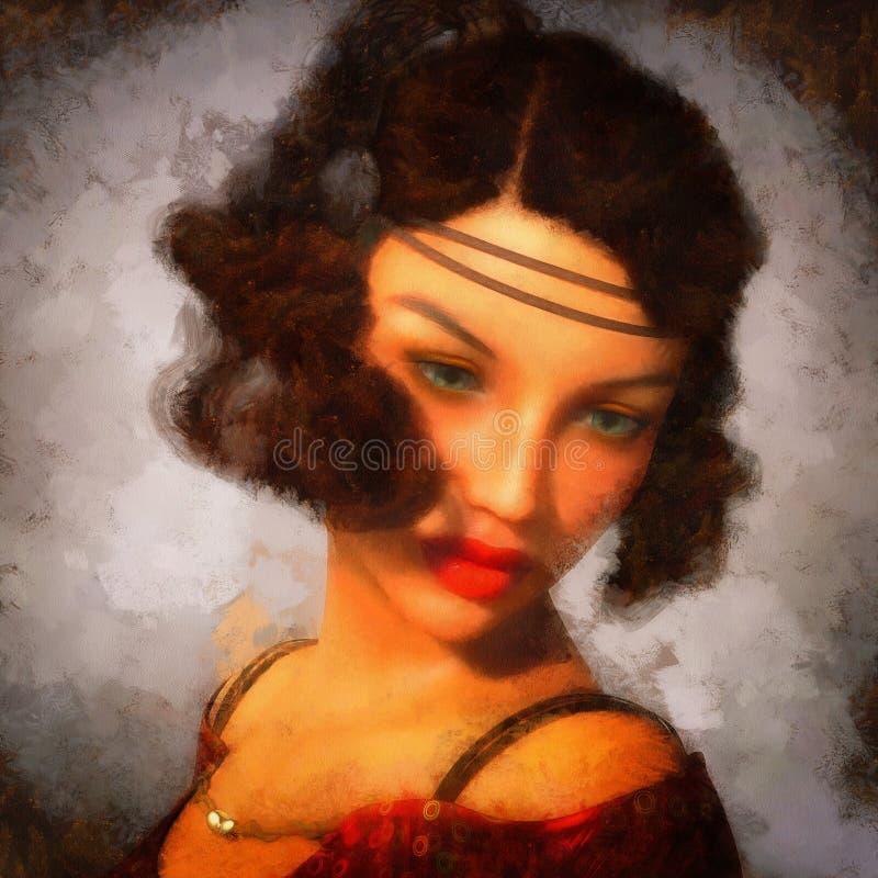 Portret van een vrouw digitaal wordt geschilderd die vector illustratie