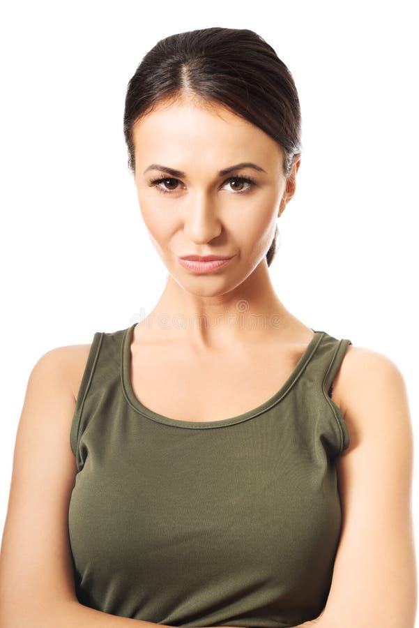 Portret van een vrouw in militaire kleren royalty-vrije stock afbeelding