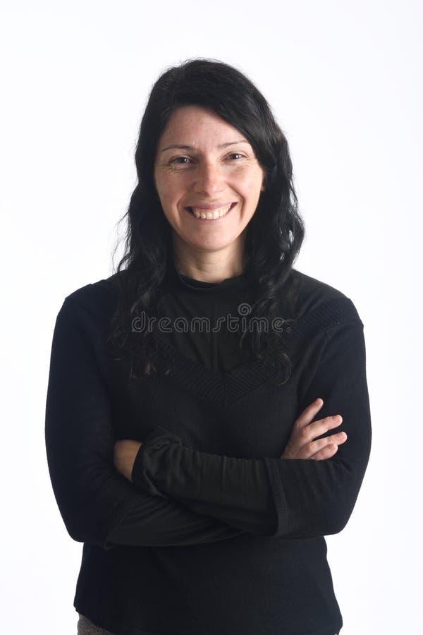 Portret van een Vrouw op Wit stock foto