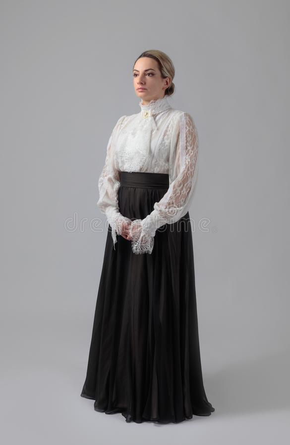 Portret van een vrouw in Victoriaanse kleren stock afbeeldingen