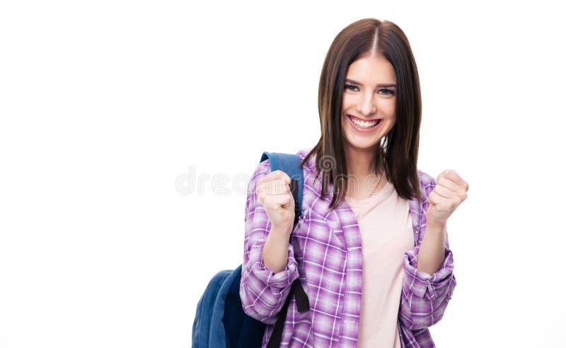 Portret van een winnaar gelukkige vrouw over witte achtergrond royalty-vrije stock foto