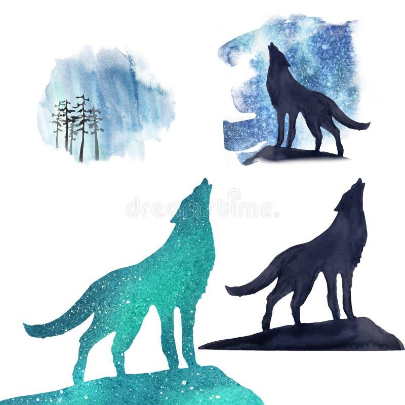 Portret van een wolf en zijn silhouetten tegen de achtergrond van de noordelijke lichten royalty-vrije illustratie