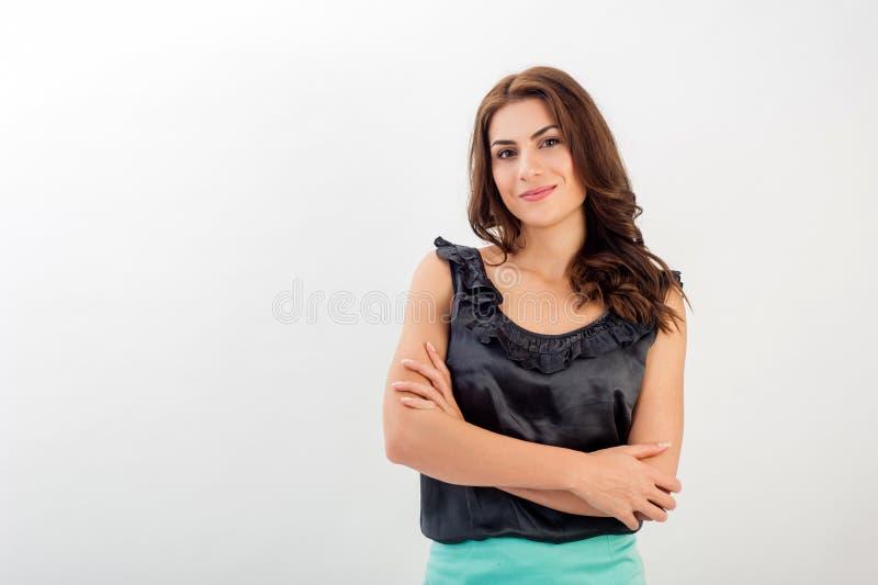 Portret van een zekere jonge bedrijfsvrouw stock foto