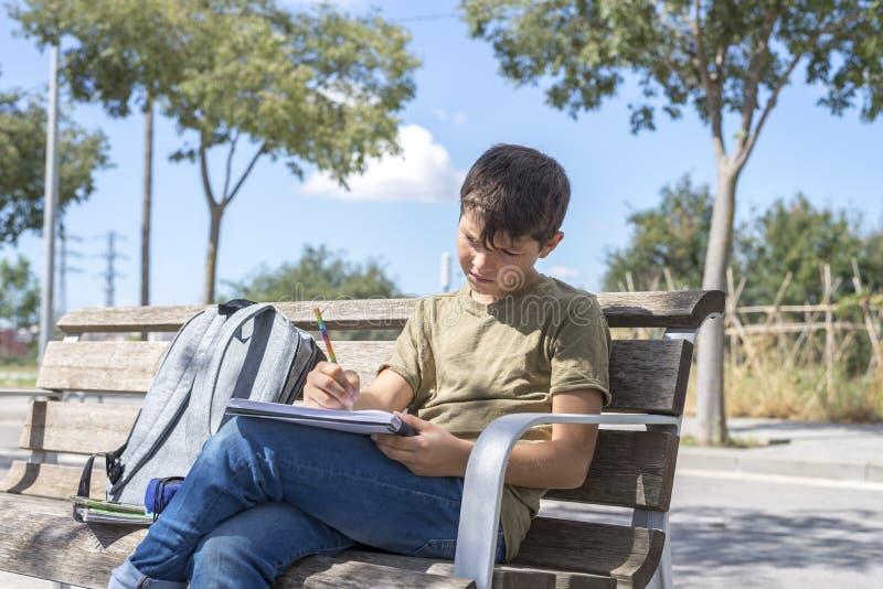 Portret van een zitting die van de tienerjongen zijn thuiswerk doen stock afbeeldingen