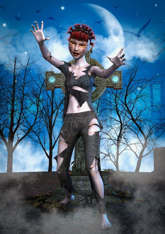Portret van een zombiepop royalty-vrije illustratie
