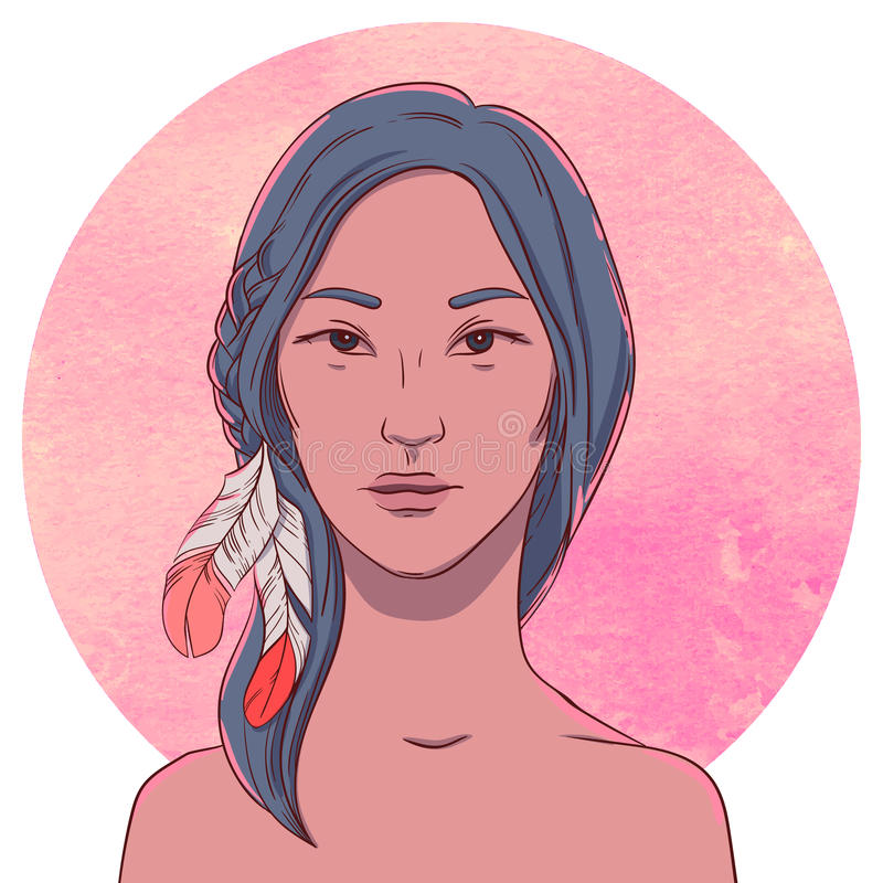 Portret van ernstig jong inheems meisje vector illustratie