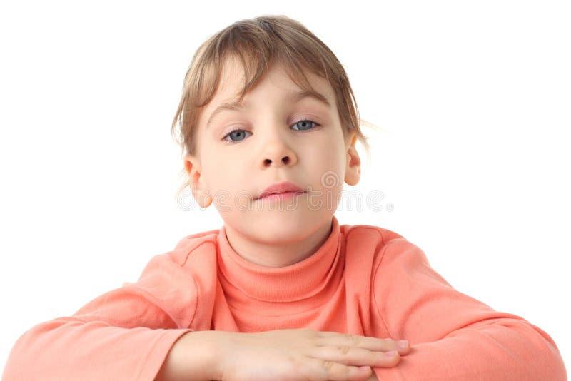Portret van ernstig meisje in dunne sweater royalty-vrije stock foto