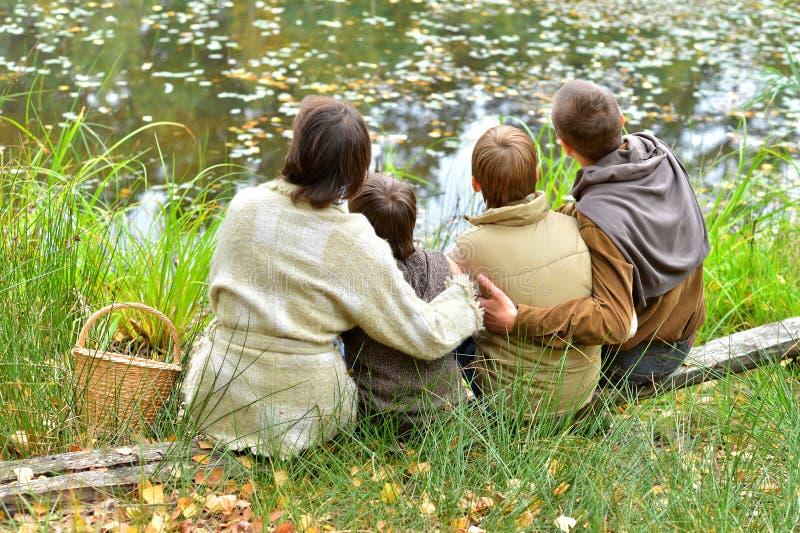 Portret van familie van vier in park stock fotografie