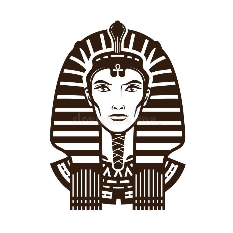 Portret van Farao Afrika, Egypte, Egyptisch embleem of symbool Uitstekende vectorillustratie royalty-vrije illustratie