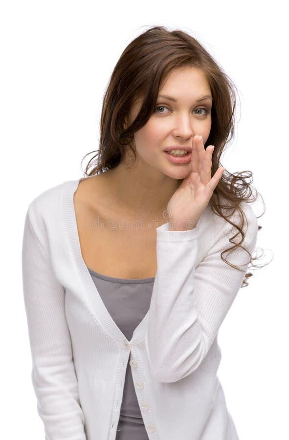 Portret van fluisterend meisje stock afbeelding