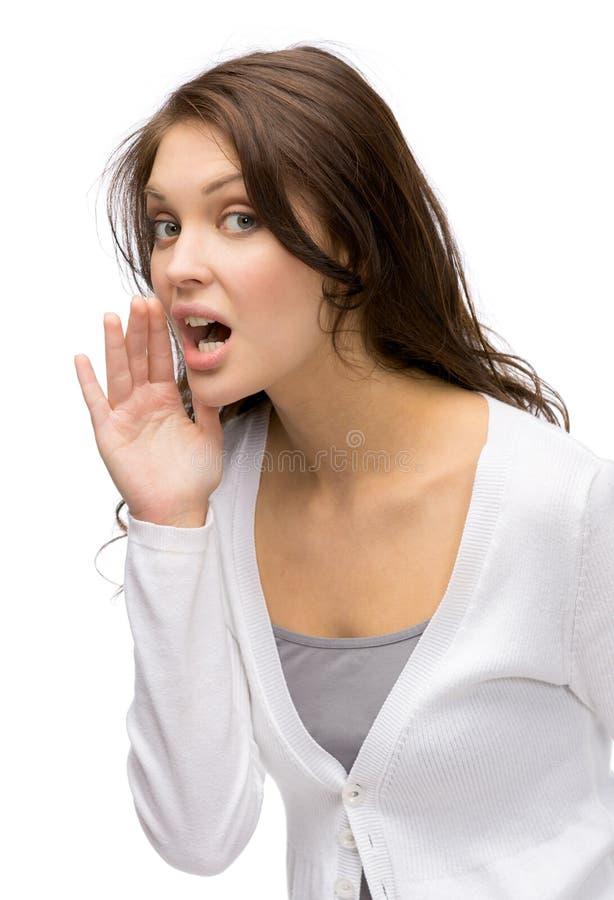 Portret van fluisterende dame stock afbeeldingen