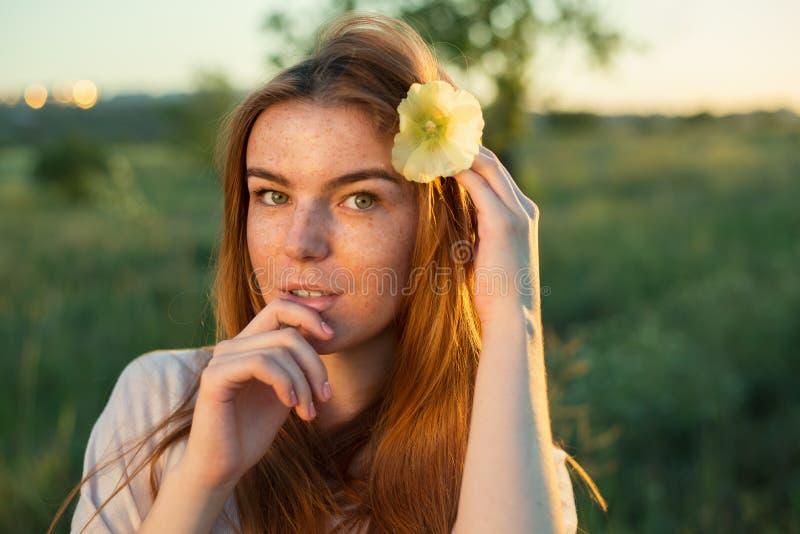 Portret van freckled vrouw royalty-vrije stock afbeelding