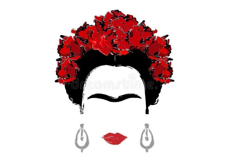 Portret van Frida Kahlo, geïsoleerde vectorillustratie, portret die van modern Mexicaan of Spaanse, stijl trekken vector illustratie