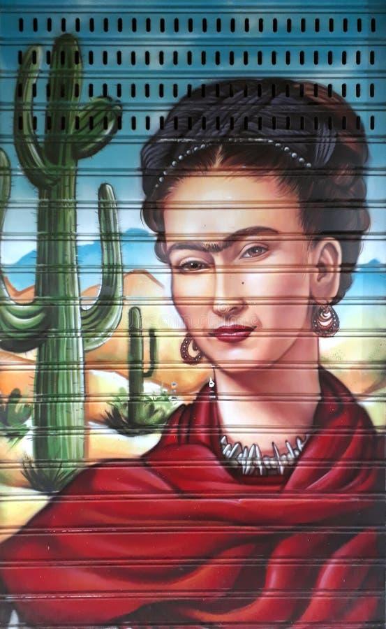 Portret van Frida Kahlo op een valhek royalty-vrije stock foto's