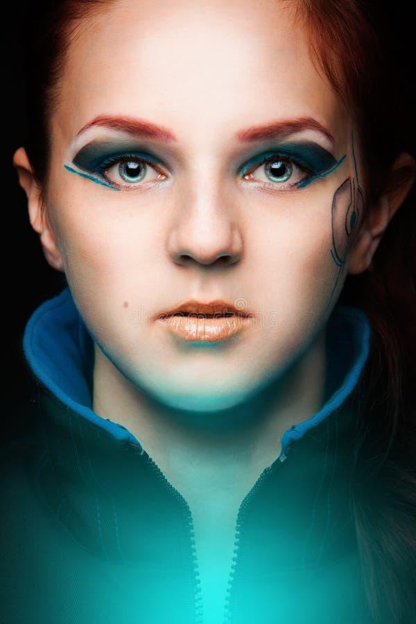 Portret van futuristische vrouwen royalty-vrije stock afbeelding