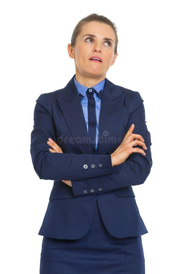 Portret van geërgerde bedrijfsvrouw stock foto's